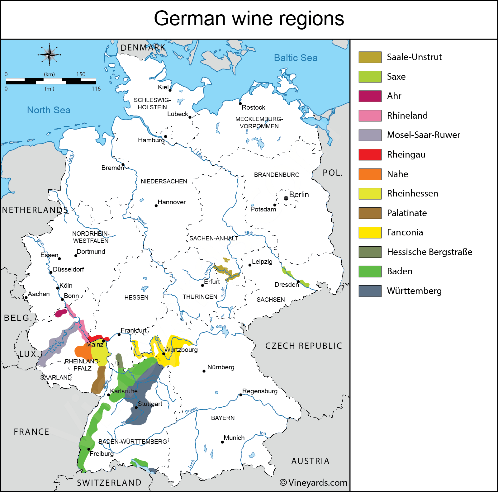 Germany Map Of Vineyards Wine Regions - Germany map regions