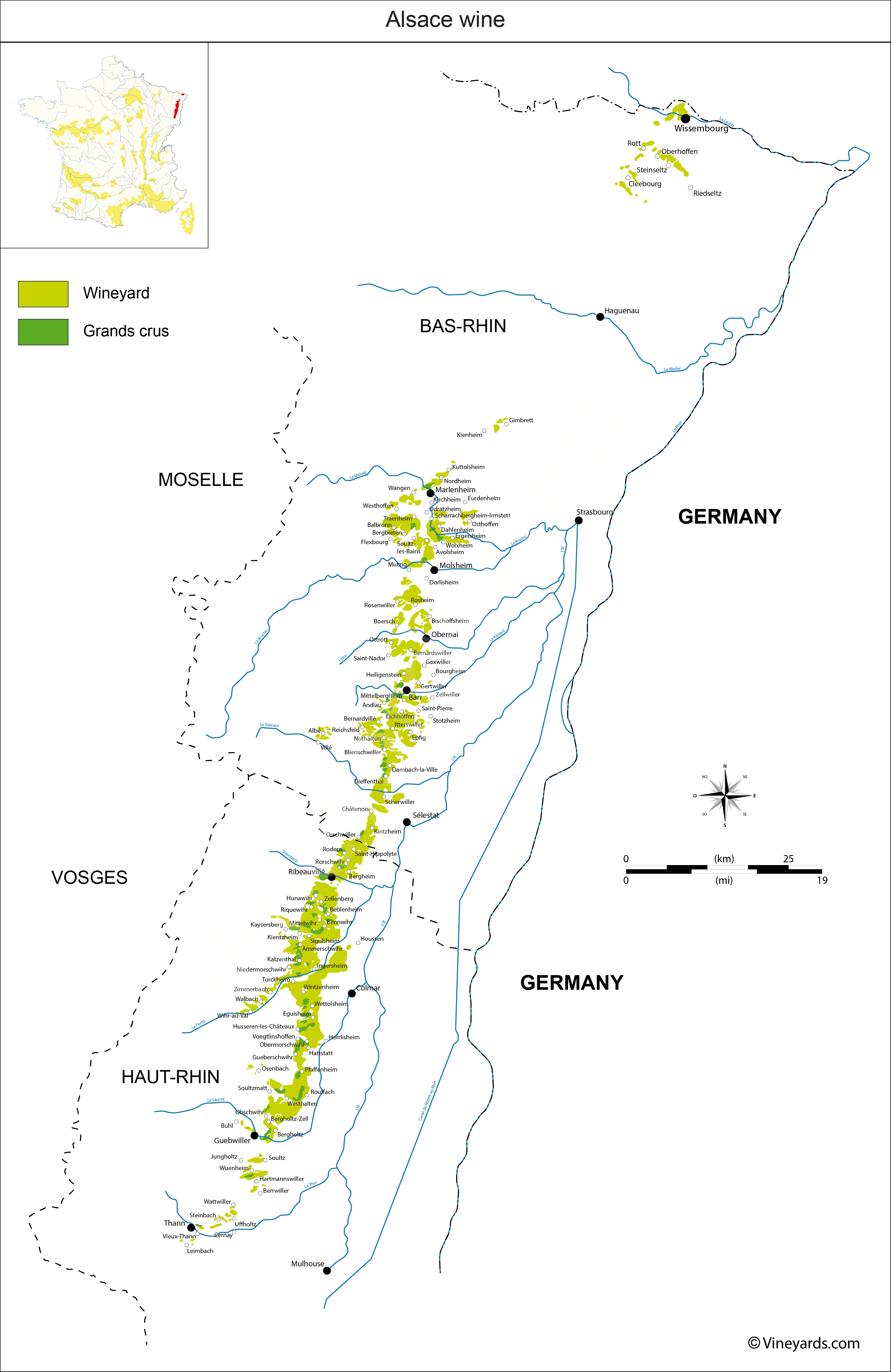 Alsace Map Of Vineyards Wine Regions