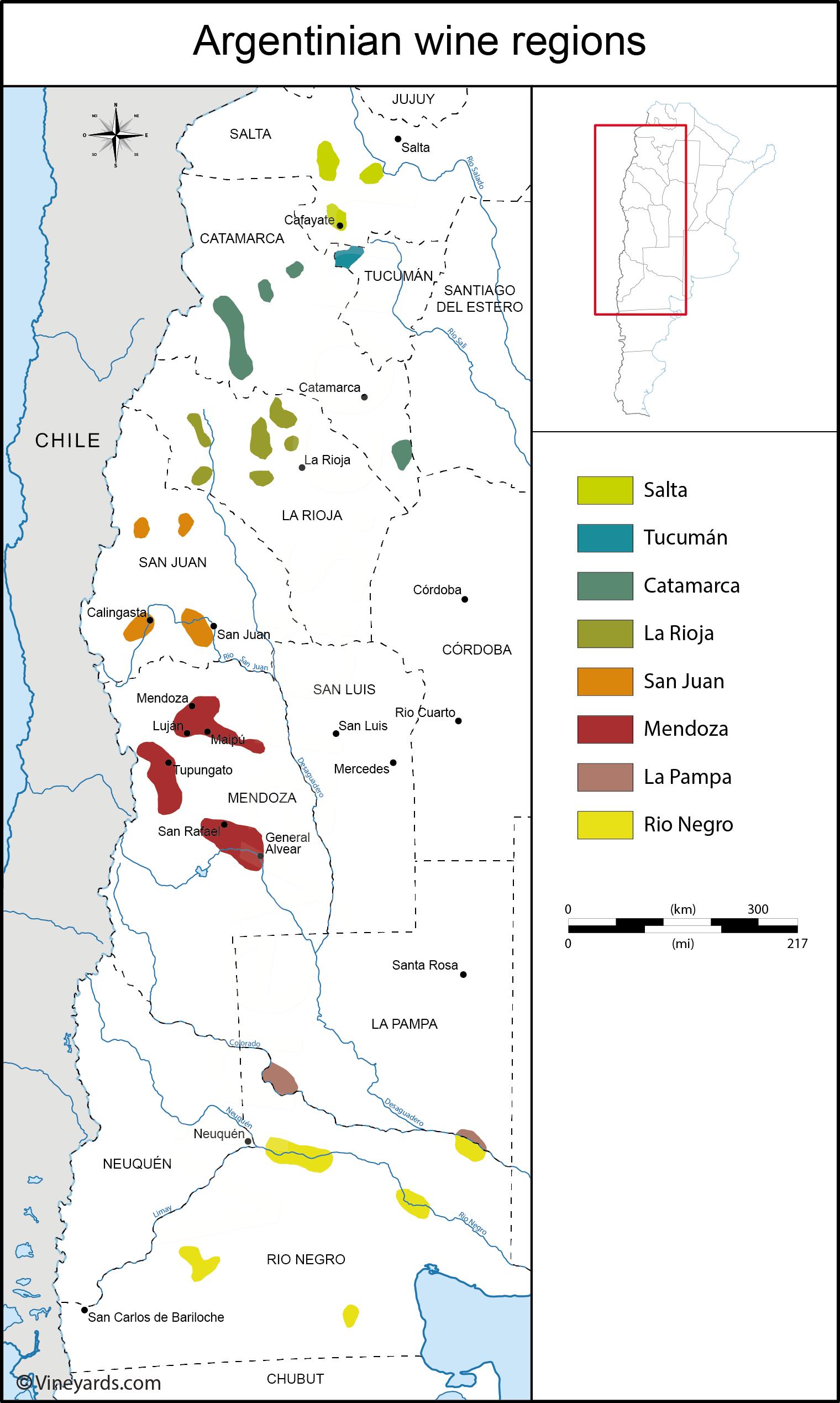 Argentina Map Of Vineyards Wine Regions - Argentina regions map