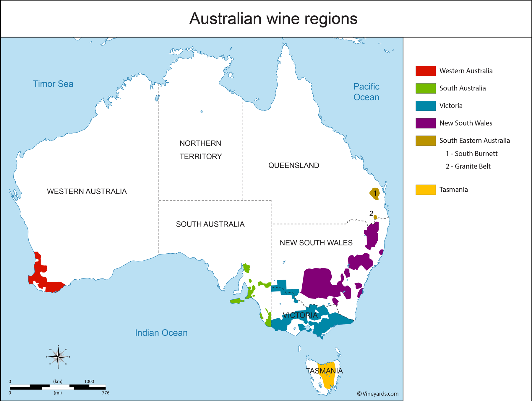 Australia Map of Vineyards Wine Regions