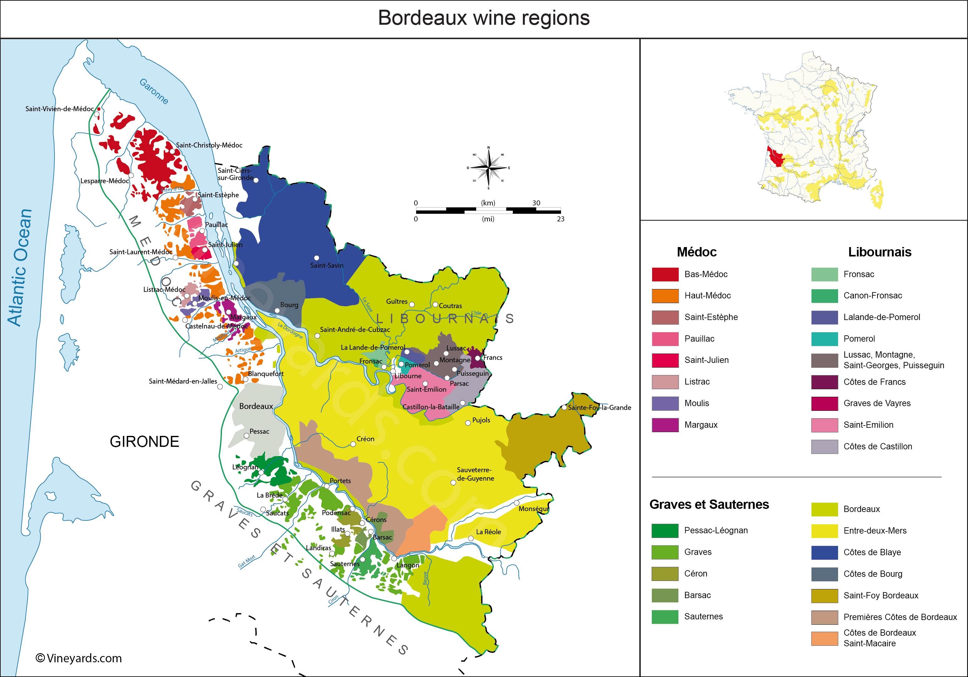 Map Of France Wine Regions Bordeaux Map of Vineyards Wine Regions