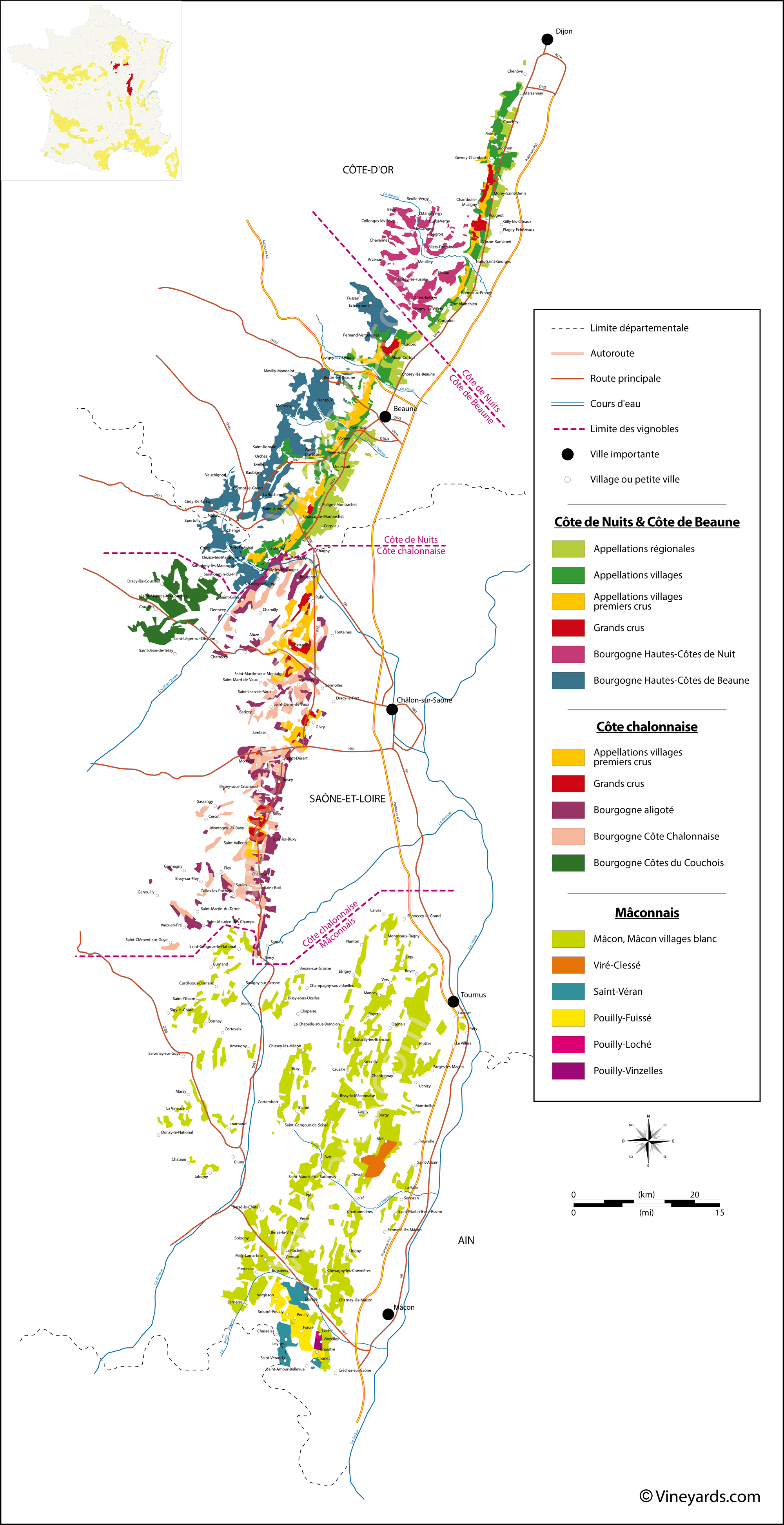 Districts Of France Map.France Map Of Vineyards Wine Regions