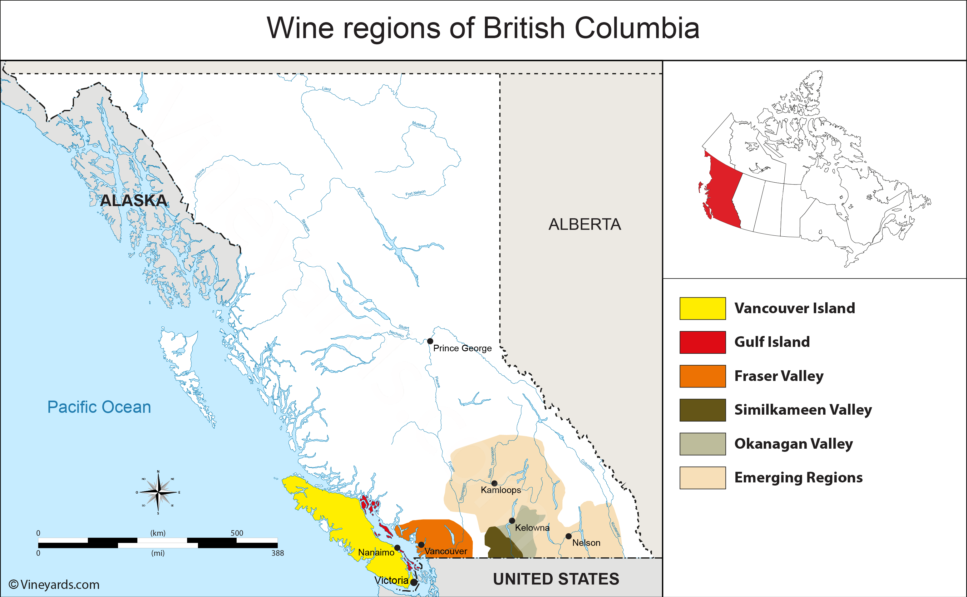 Map Of Canada British Columbia.Canada Map Of Vineyards Wine Regions
