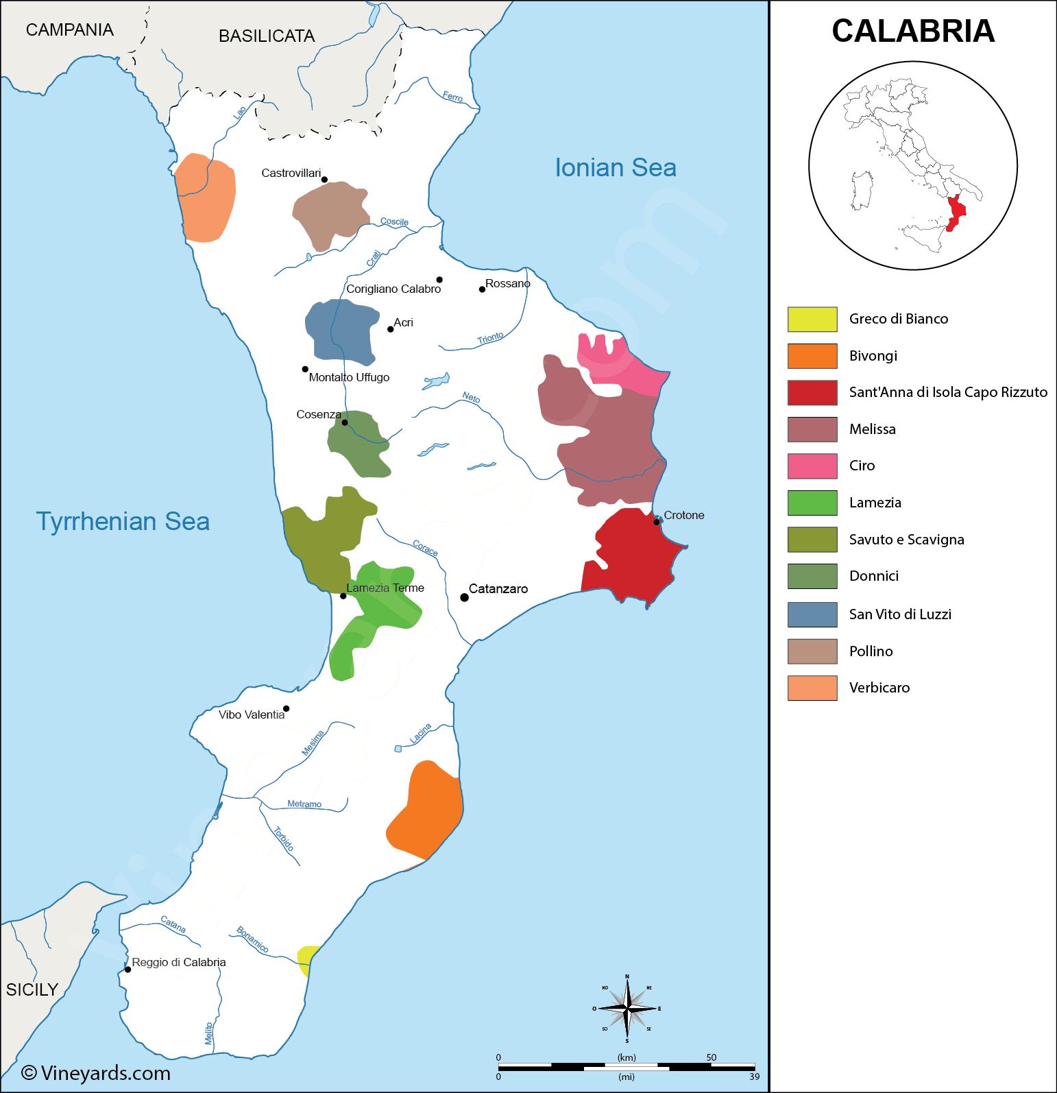 italy map of vineyards wine regions - wine regions in calabria
