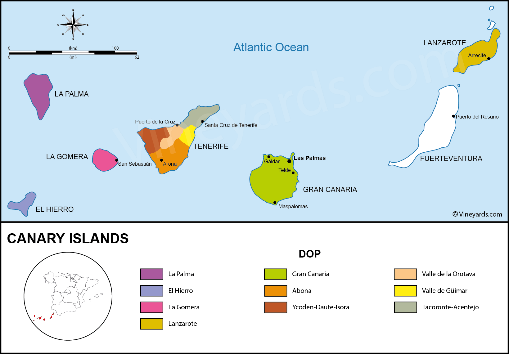 Canary Islands Map of Vineyards Wine Regions on