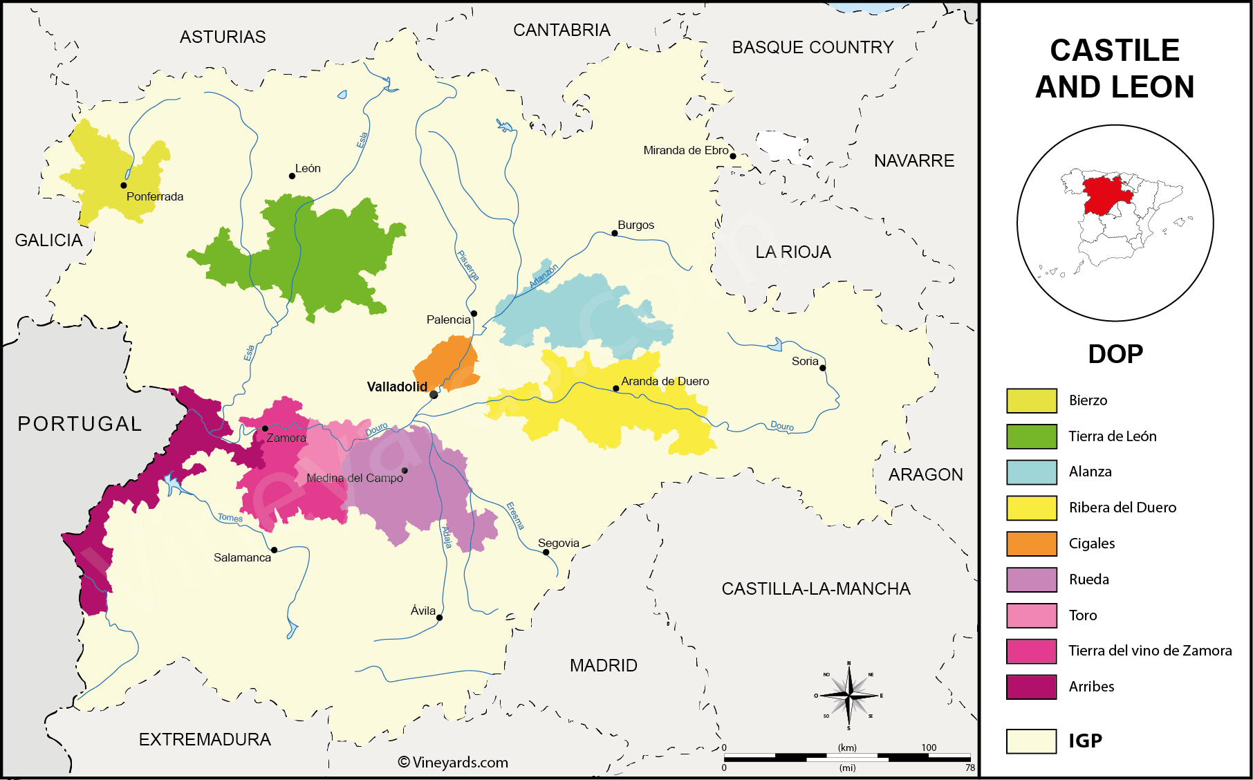 Castile and Léon Map of Vineyards Wine Regions on