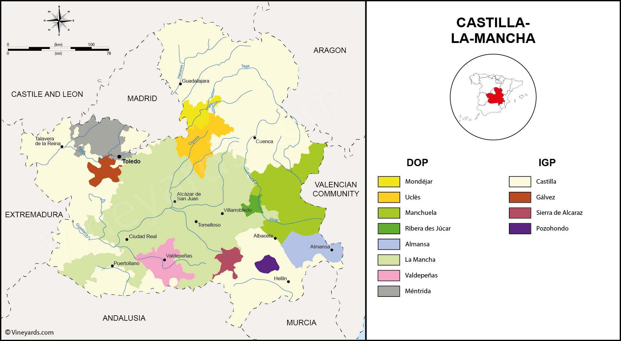 Castilla la Mancha Map of Vineyards Wine Regions