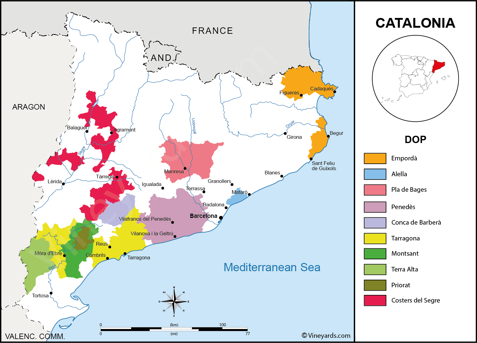 World Map Catalonia. Catalonia Vineyard Wine regions Map of Vineyards Regions