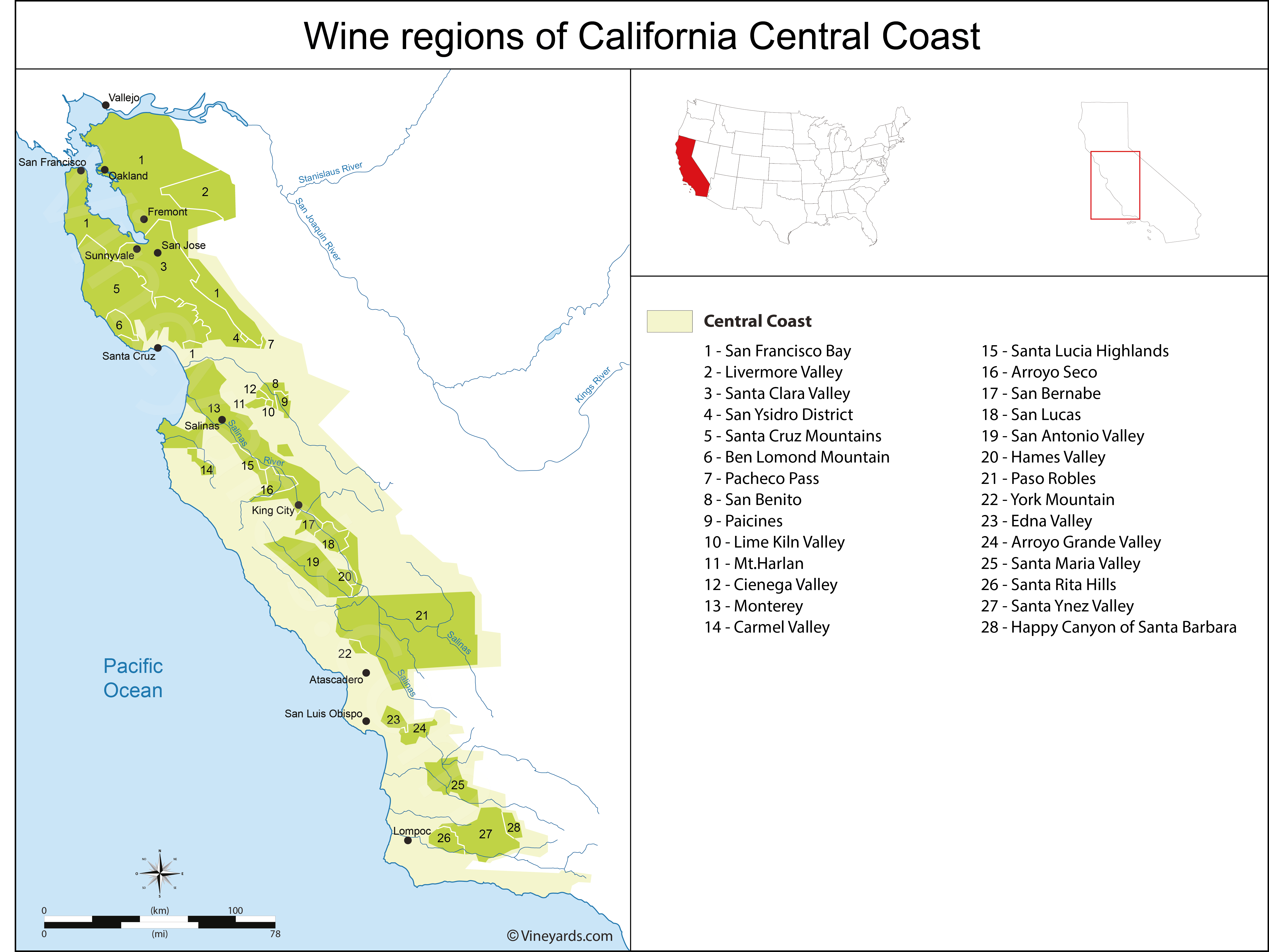 Wine Regions in California Central Coast