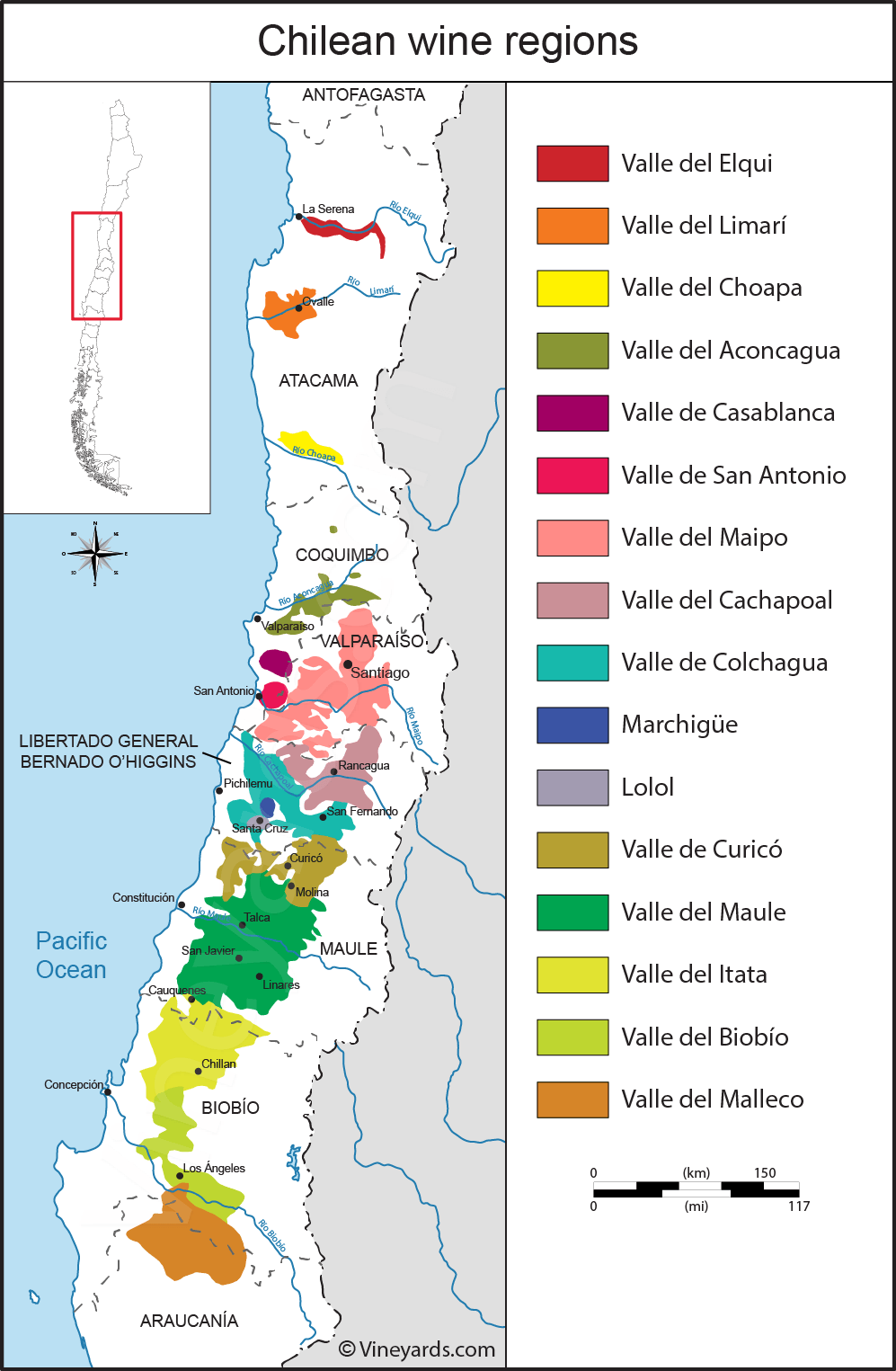 Chile Map of Vineyards Wine Regions on