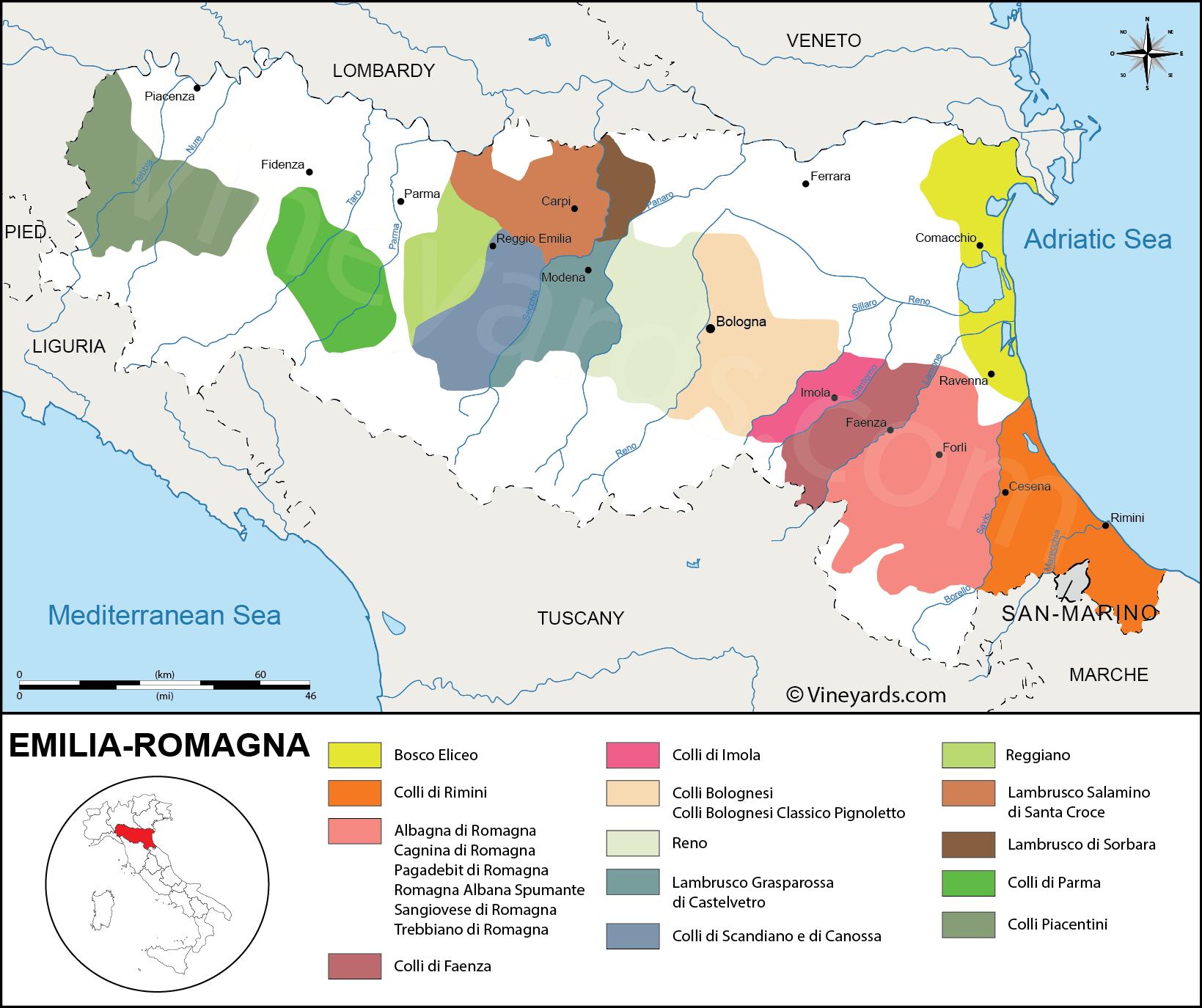 Italy Map of Vineyards Wine Regions