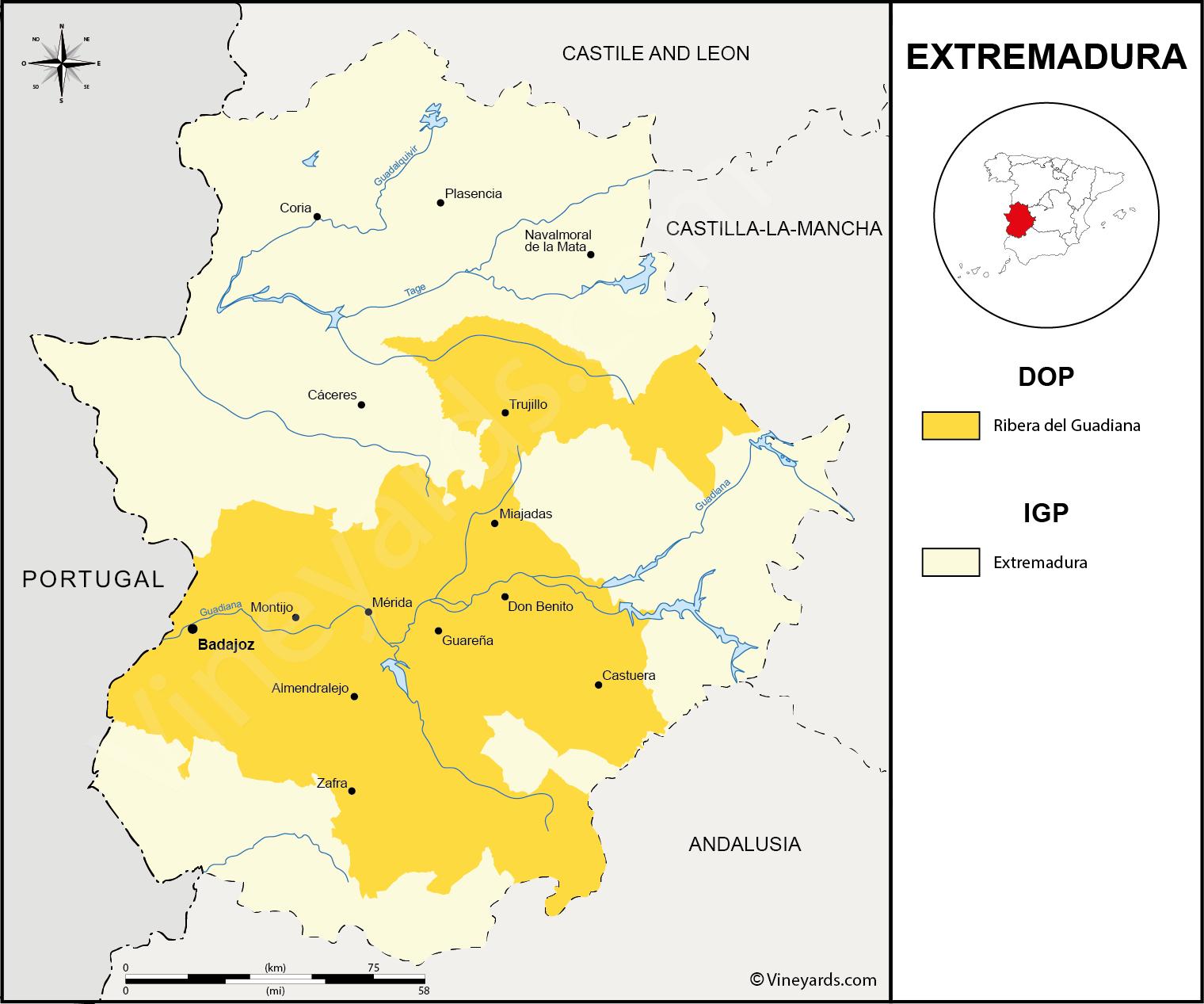 Map Of Spain Extremadura.Spain Map Of Vineyards Wine Regions