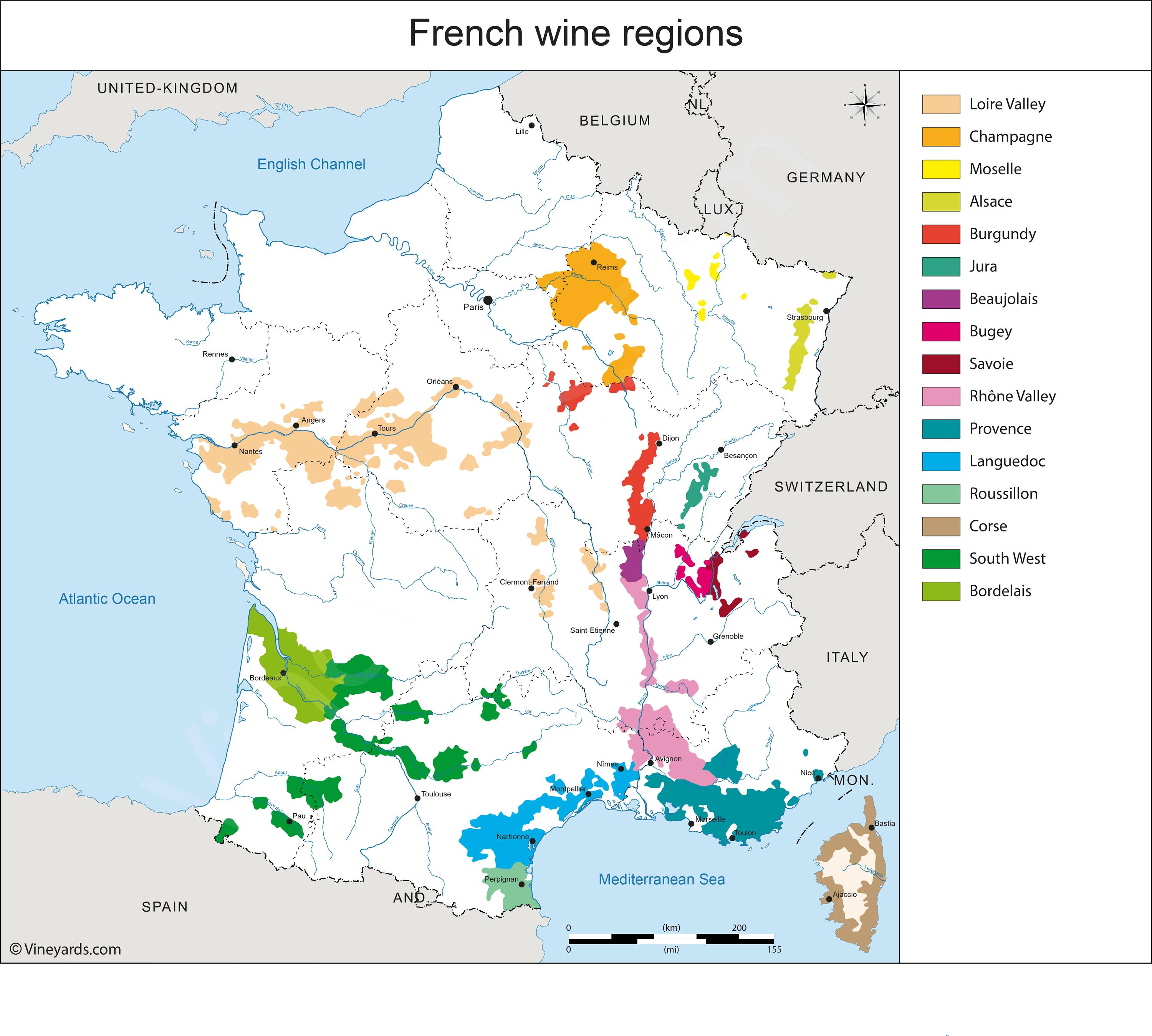 French Wine Regions Map France Map of Vineyards Wine Regions French Wine Regions Map