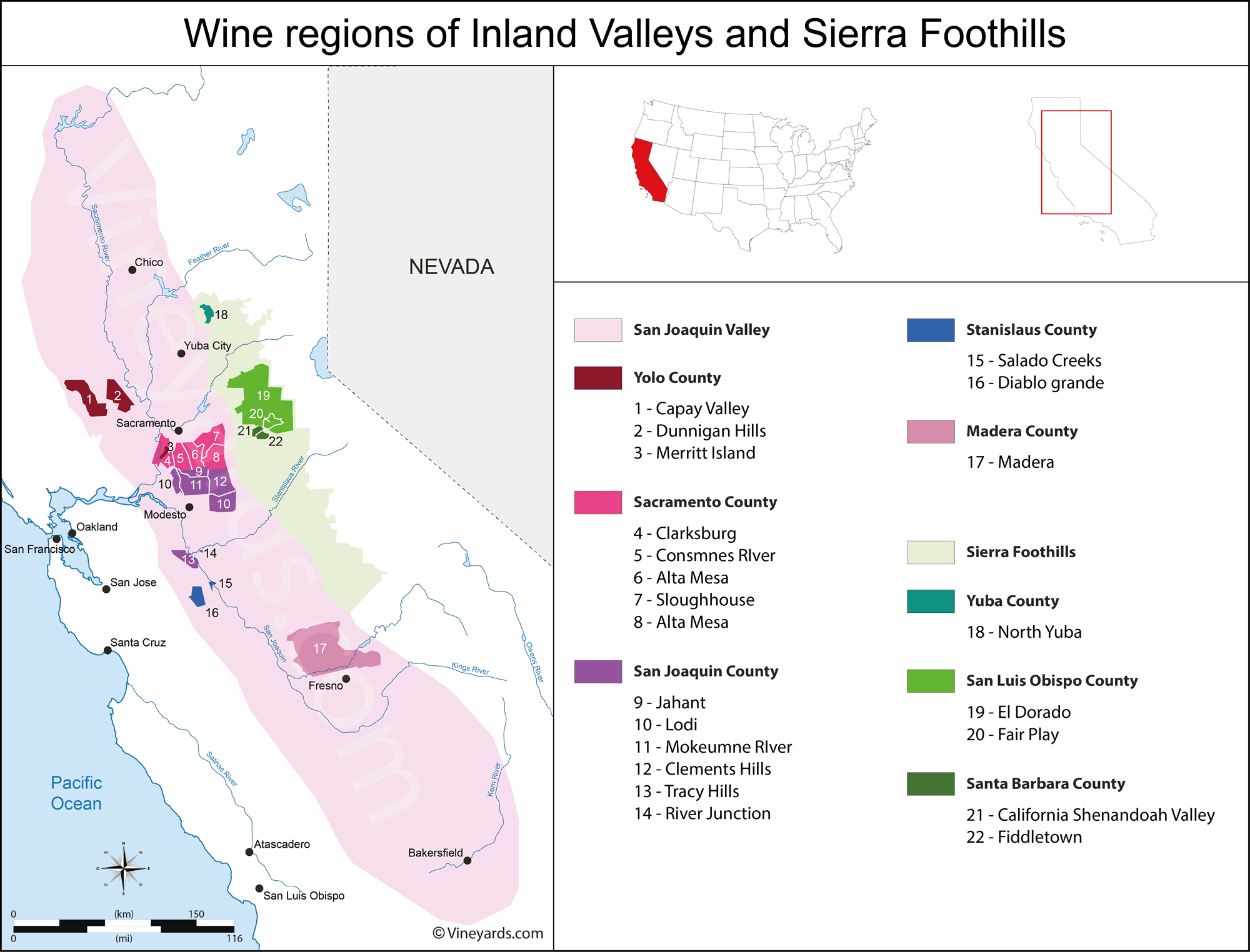 Wine Regions in California Inland Valleys
