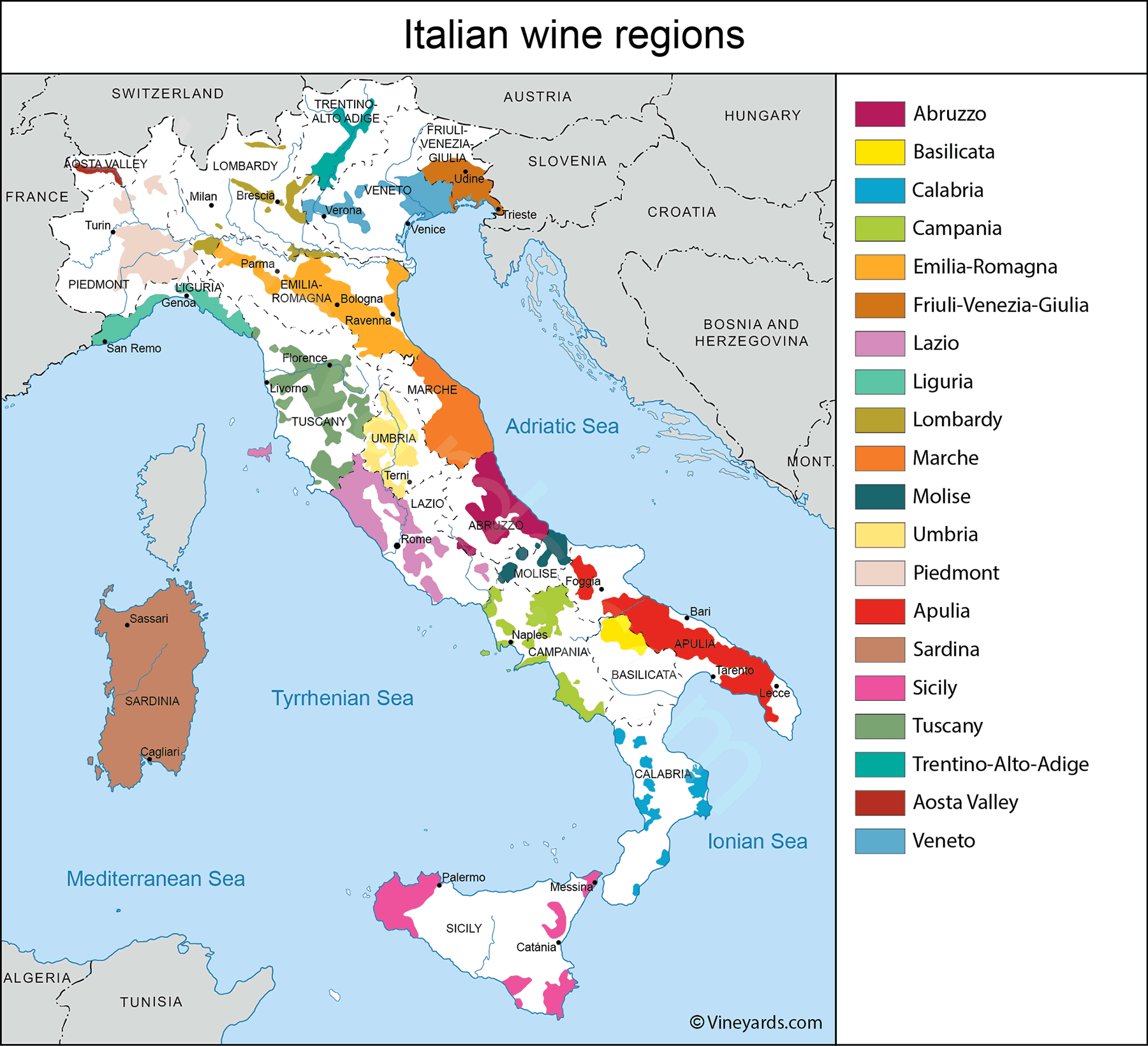 Map Of Southern Italy Regions.Italy Map Of Vineyards Wine Regions