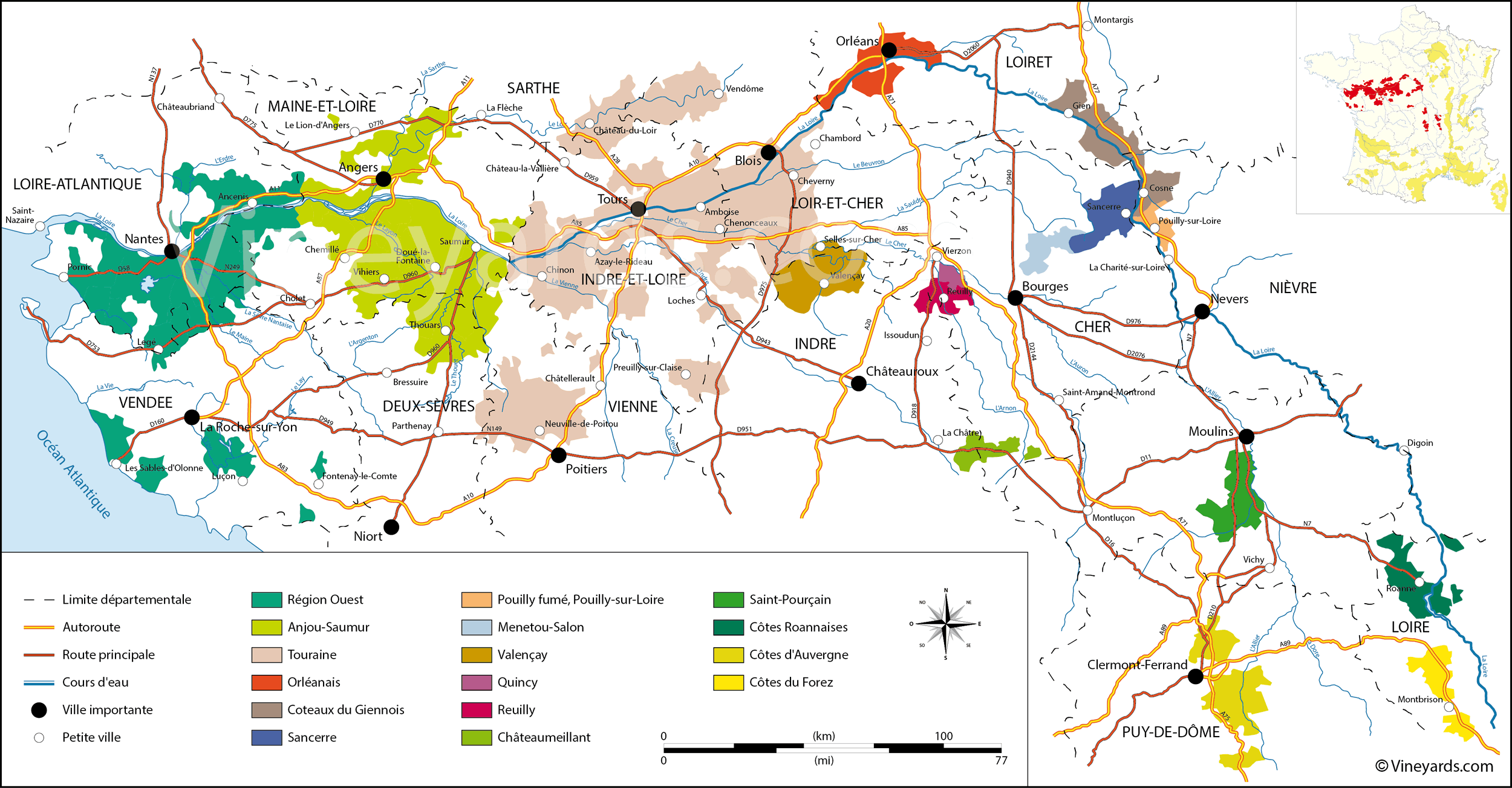 loire valley vineyard map. loire valley map of vineyards wine regions