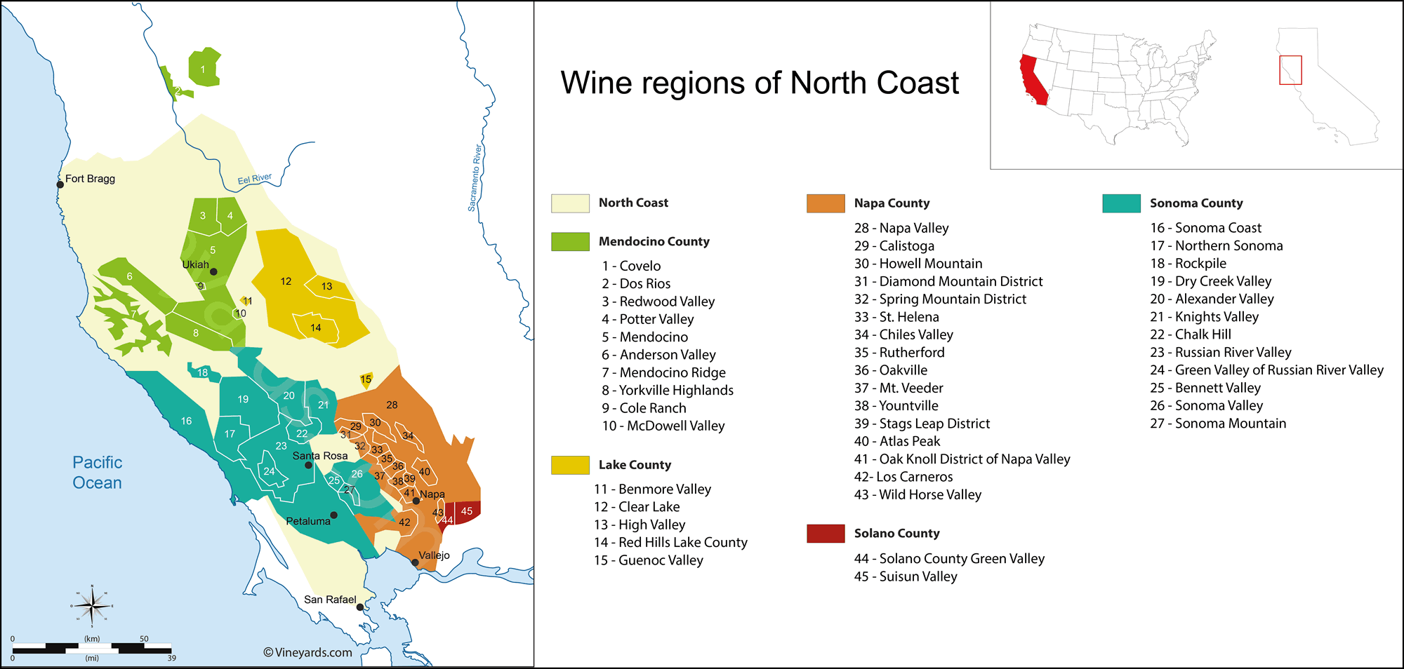 California North Coast Map of Vineyards Wine Regions