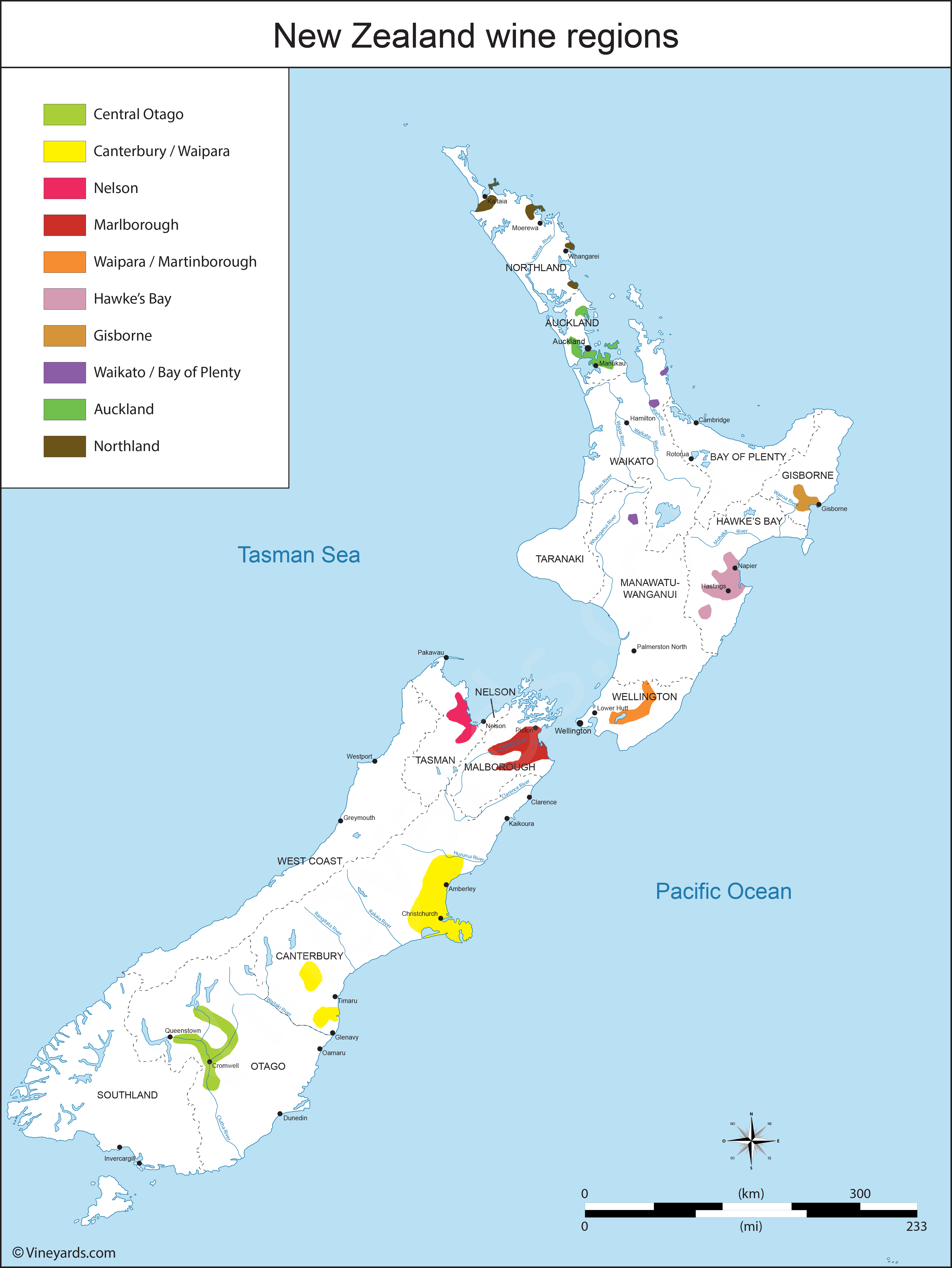 New Zealand Map Of Vineyards Wine Regions - New zealand map world