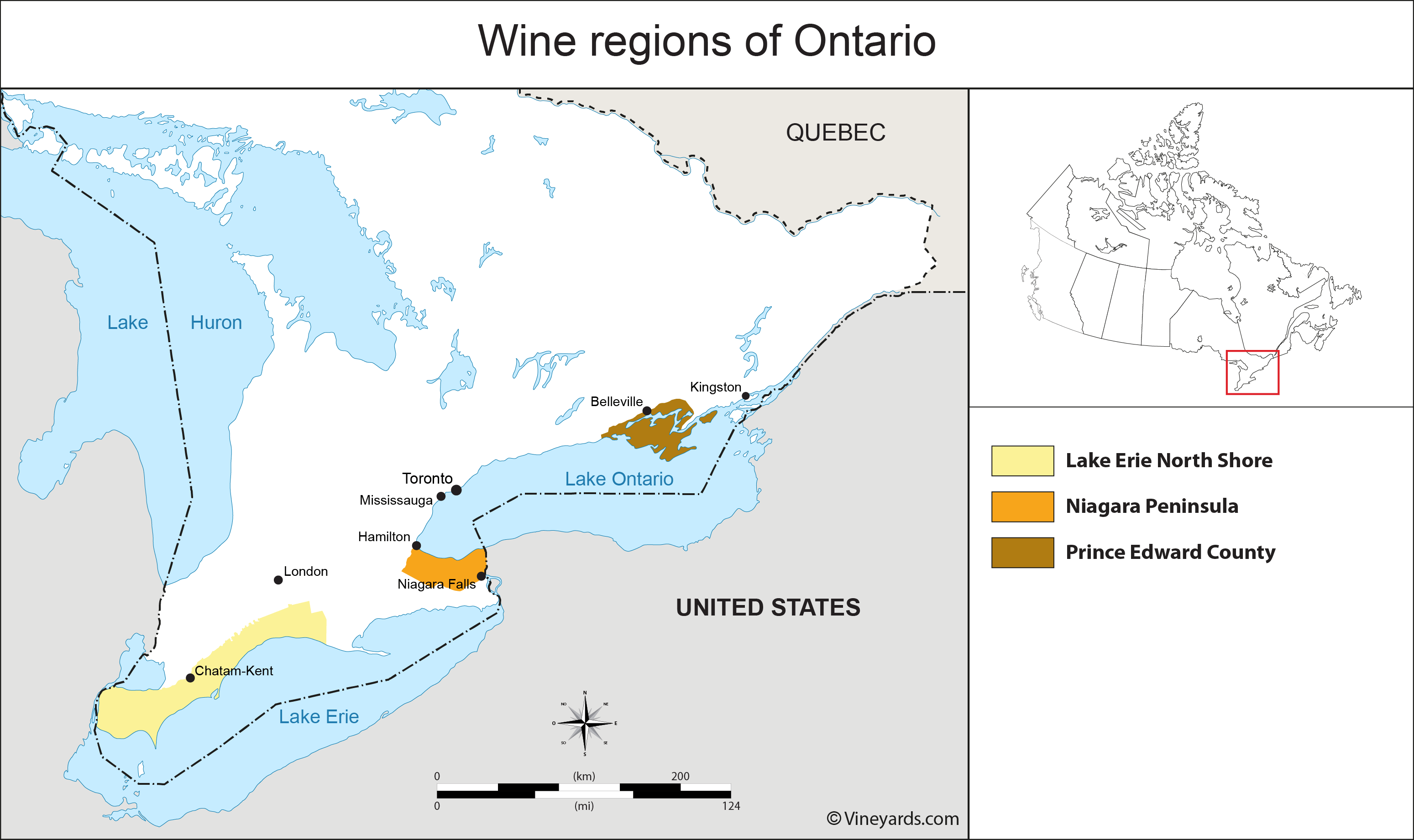 Canada Wineries Map Ontario Map of Vineyards Wine Regions