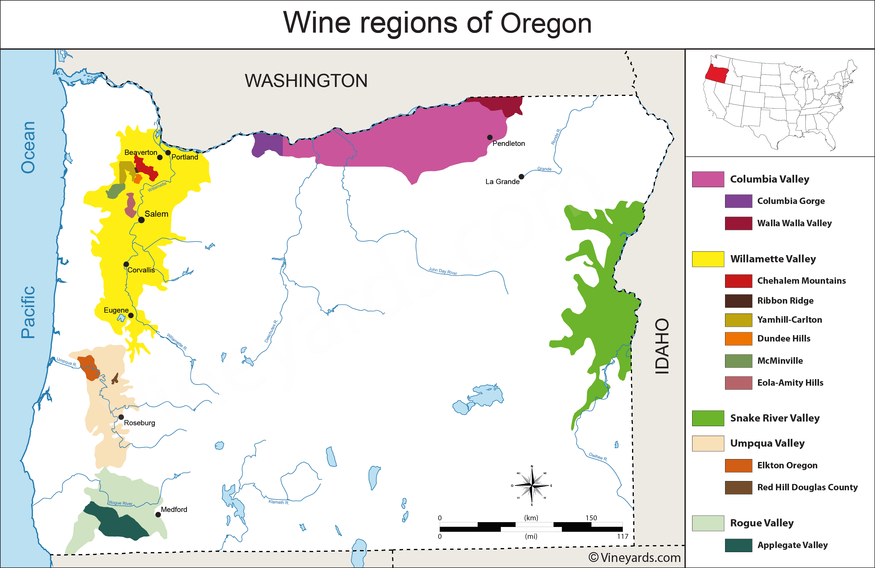 Oregon Wineries Map Oregon Map of Vineyards Wine Regions Oregon Wineries Map