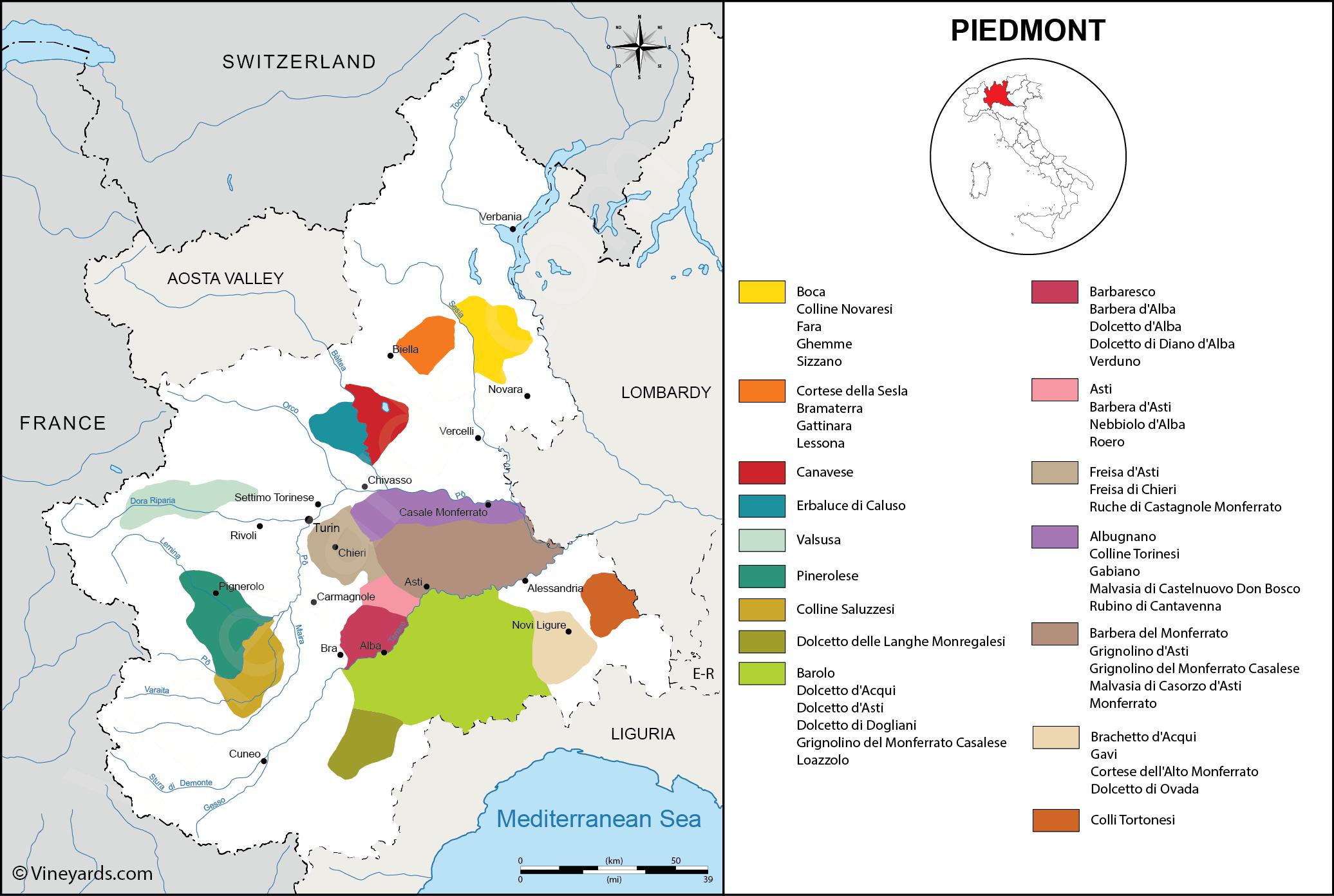 Italy Map of Vineyards Wine Regions on