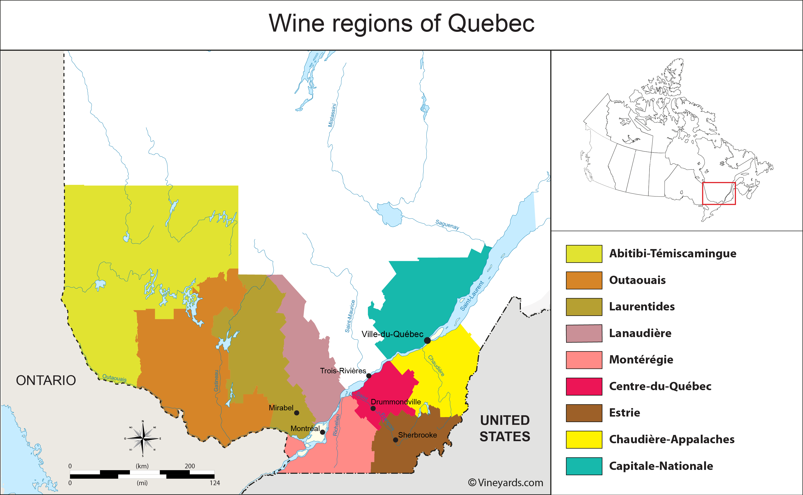 Quebec Map of Vineyards Wine Regions