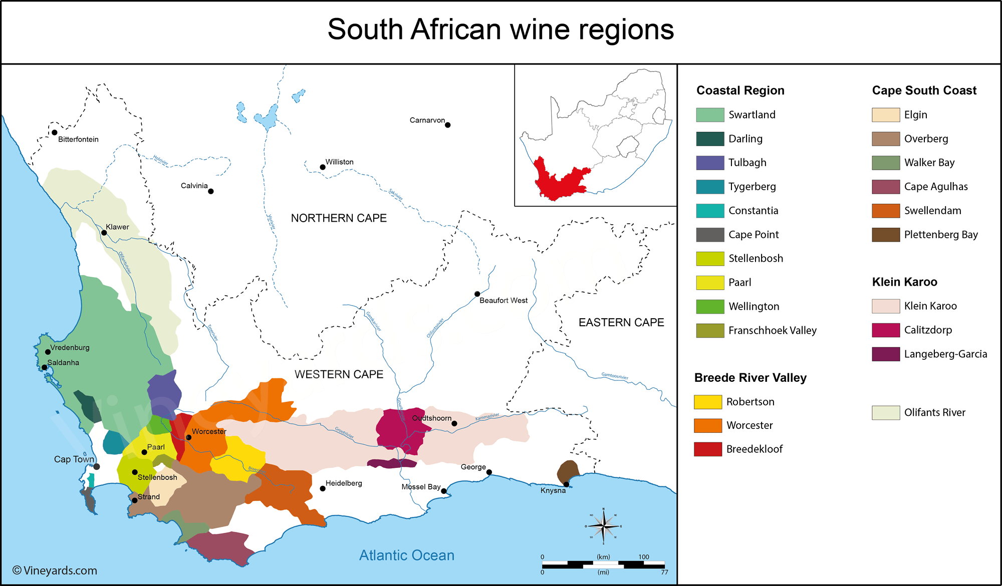 South Africa Map of Vineyards Wine Regions