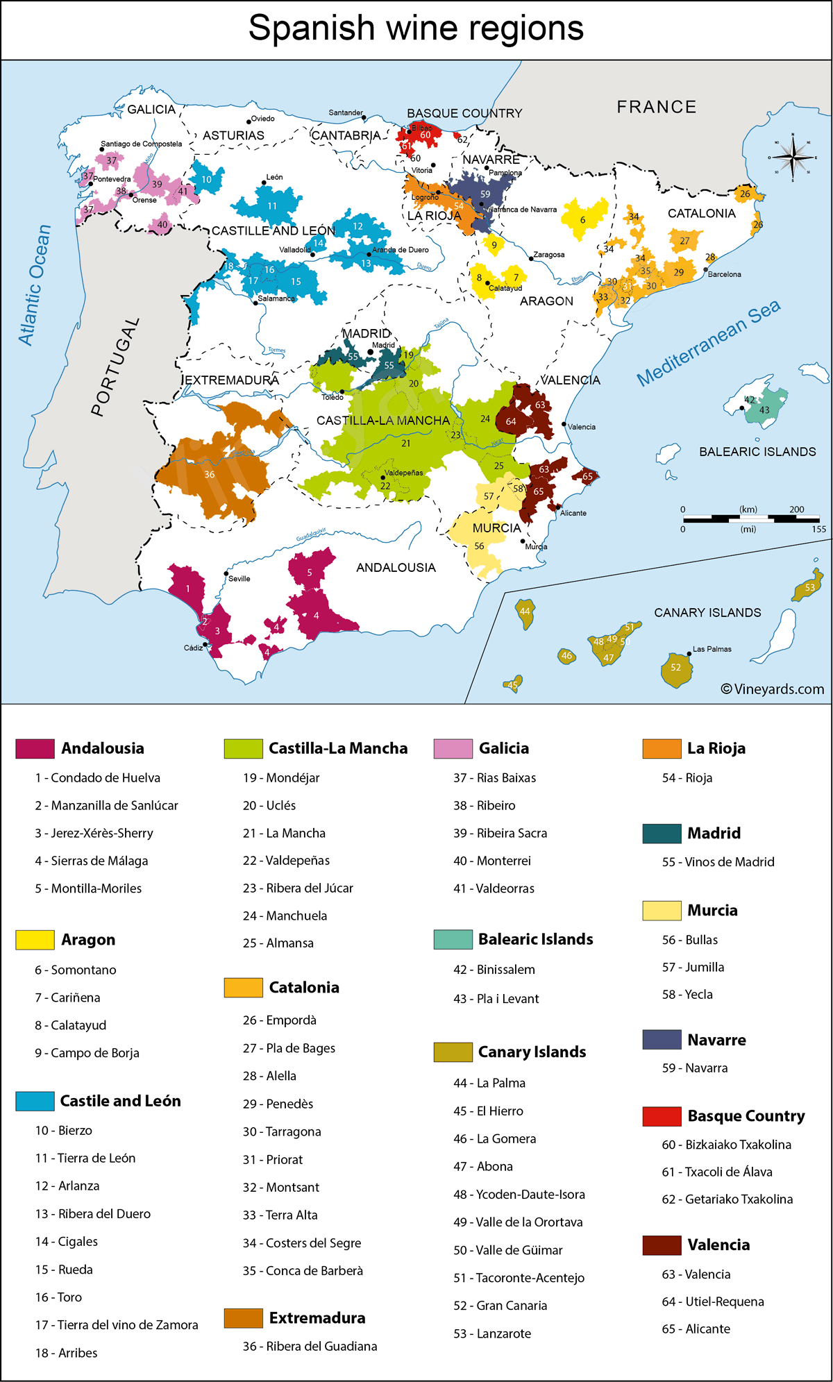 Rioja Region Spain Map.Spain Map Of Vineyards Wine Regions