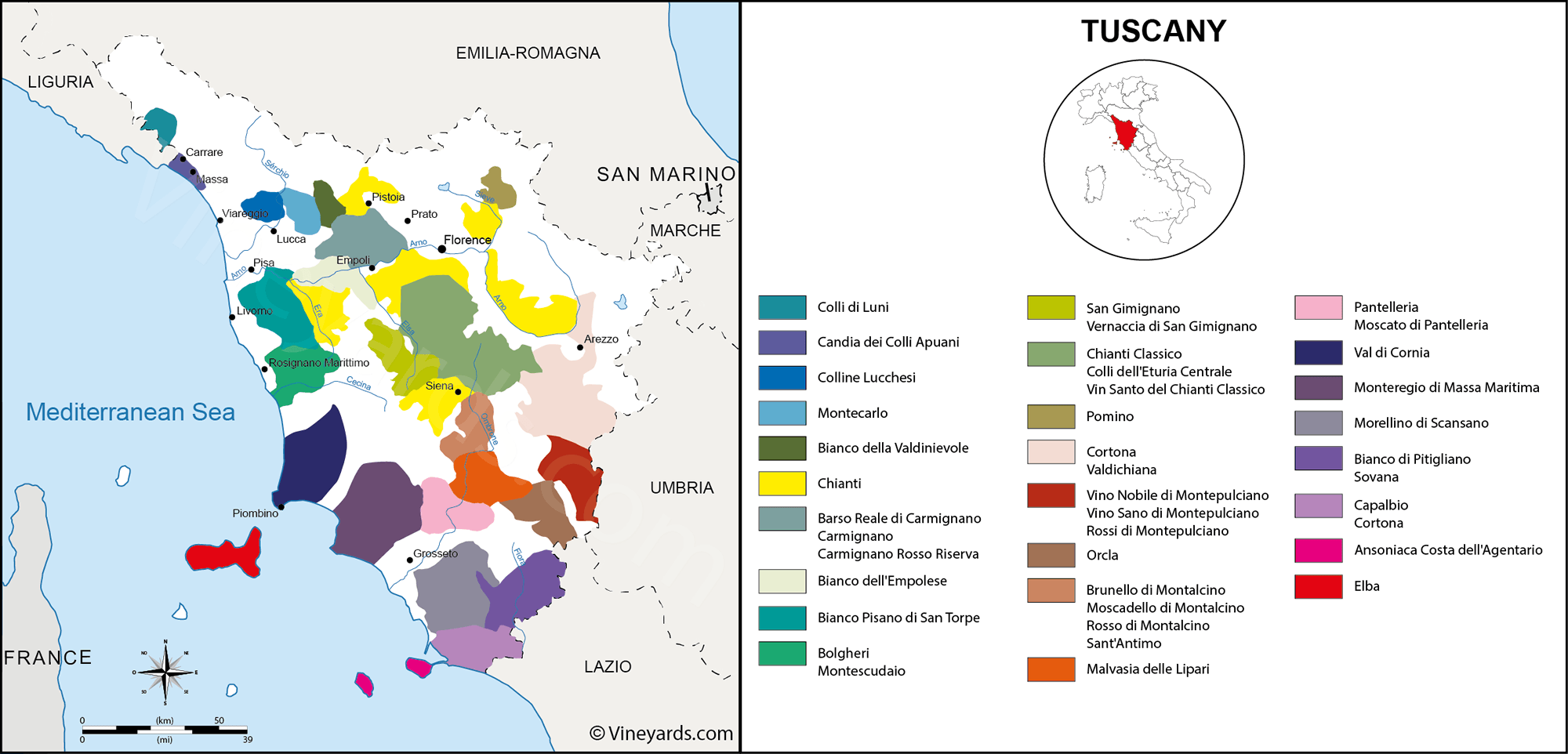 Tuscany Map Of Vineyards Wine Regions - Map tuscany