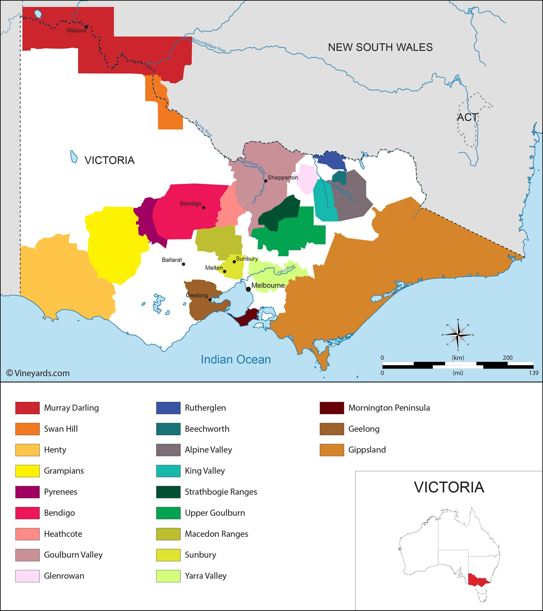 Map Australia Victoria.Victoria Map Of Vineyards Wine Regions
