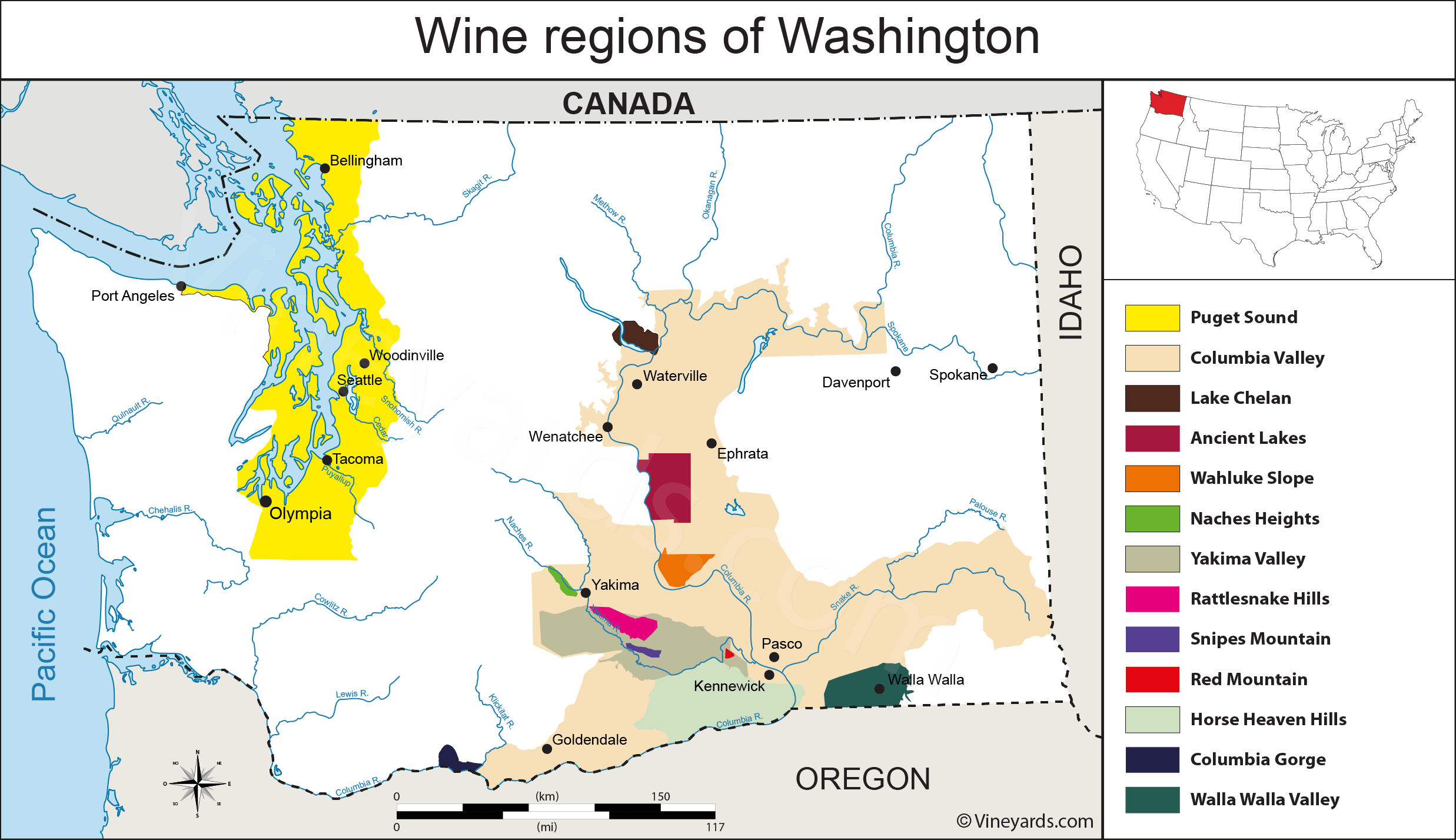 United States Map of Vineyards Wine Regions